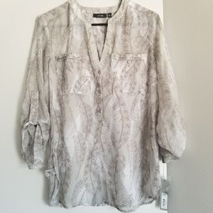 NWT apt 9 gray sheer feather women top small shirt